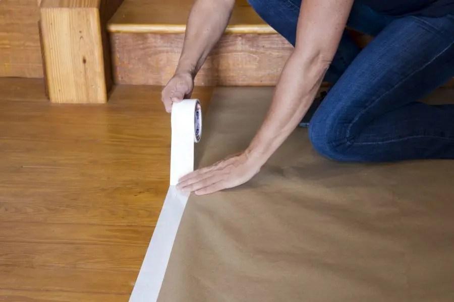 Temporary wood floor tape
