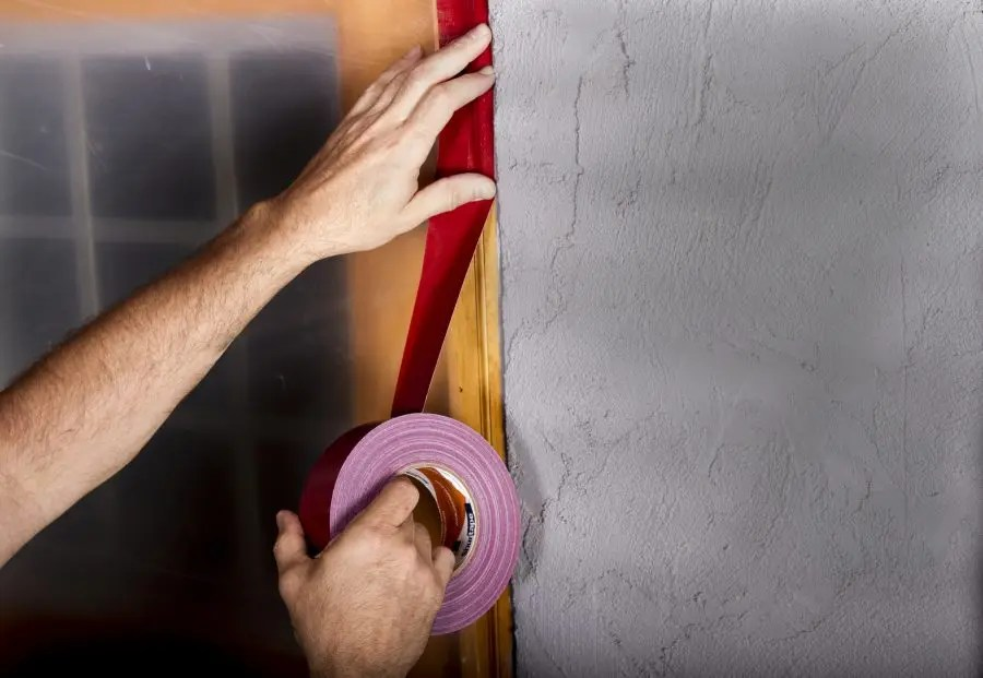 Red stucco masking tapes