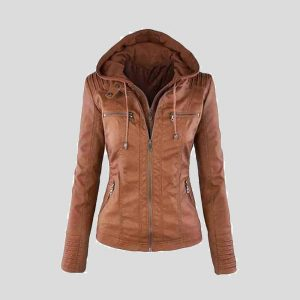 Women Hooded Leather Bomber Jacket