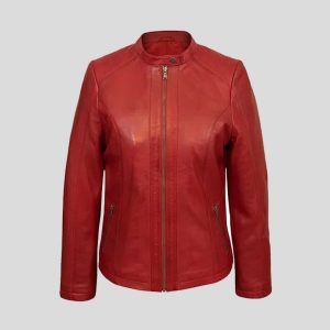 Compare CLOSE Women's Red Leather Biker Jacket