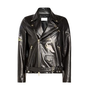 Bird Embroidered Style Women Leather Jacket