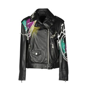 Black Printed Leather Biker Jacket