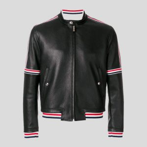 Leather Bomber Jacket Elastic Seamed