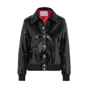 Leather bomber jacket for Womens