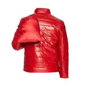 Red Men's Leather Packable Down Filled Puffer Jacket