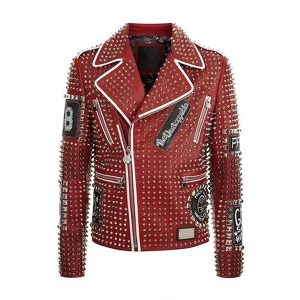 Red Studded Punk Men Leather Jacket With Embroidery Patches