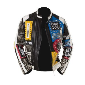 Studded Punk Men Leather Jacket with Zipper Pockets