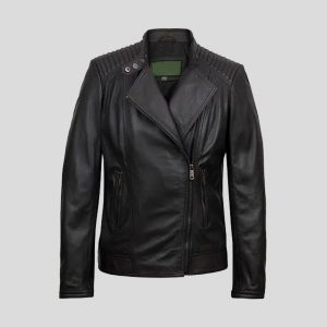 Women's Black Leather Biker Jacket