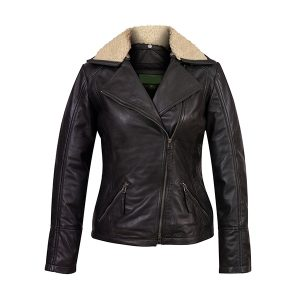 Women's Black Leather Flying Jacket