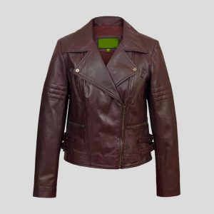 Women's Burgundy Leather Biker Jacket
