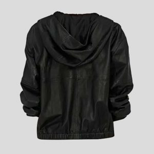 Women's Hooded Black Leather Bomber Jacket