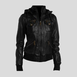 Womens-Black-Lambskin-Hooded-Leather-Bomber-jackets