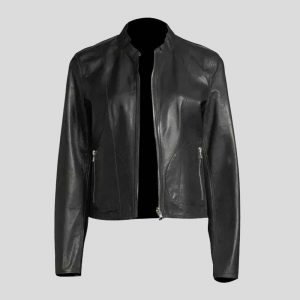 Zip-Front Lamb Leather Metallic Bomber Jacket