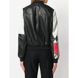 Colour-block Printed Leather Bomber jacket