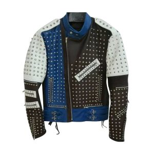 High Quality Studded Punk Leather Jacket For Mens