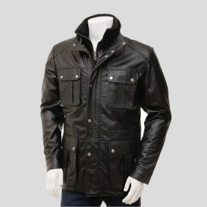 Men's Black Leather Coat with buttons
