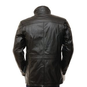 Men's Black Leather Jacket with buttons
