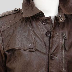 Mens Brown Leather Trench Coat