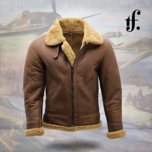 Men's B3 Ginger Real Sheepskin Leather Bomber Jacket