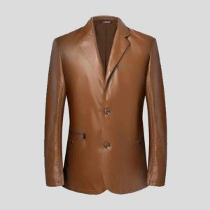 Men Lapel Blazer Leather Casual Jackets Autumn Slim Fit Coat Suits