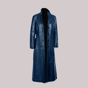 Mens Trench Coat Shine Leather New Long Coat Full Length