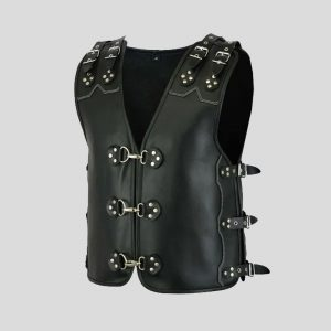 Triple Straps Leather Men Vest Real Sheep Full Black Leather
