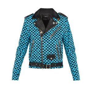 Artist Checkered Denim and Leather Biker Jacket