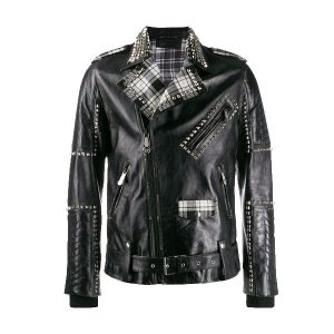 Ideal Studded Biker Printed and Celebrity Jacket for Men