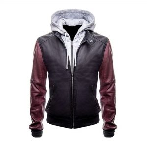 The Flash Genuine Real Leather Jacket with Hoodie