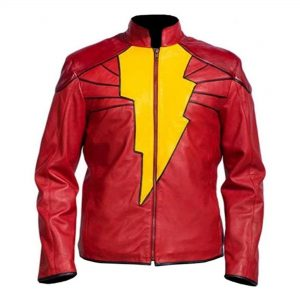 Shazam Red Faux Leather Jacket Costume Style