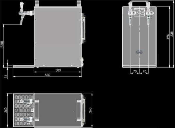 Lindr Kontakt 155/K Dimensions
