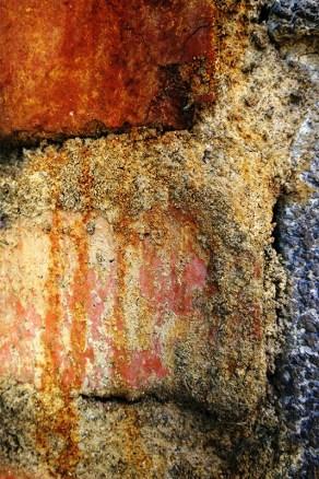 Orange rust on bricks