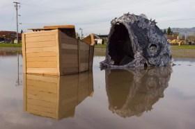 Fish boat sculpture