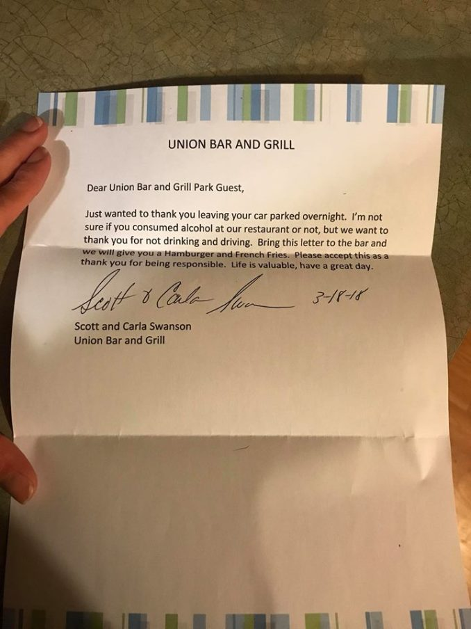 Man Leaves Truck At Union Bar and Grill Overnight, Wife Finds Note