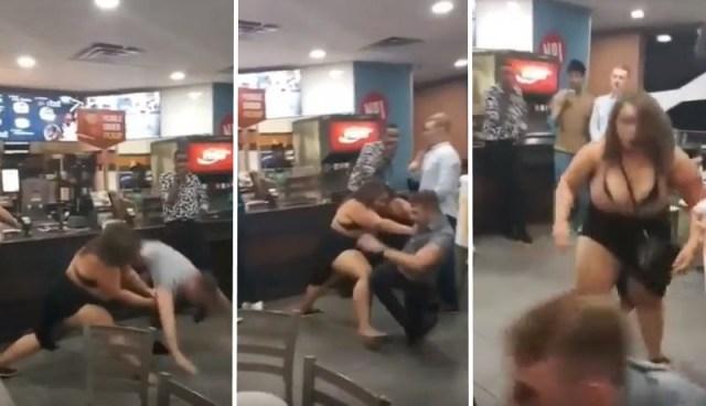 McDonald's Melee: Voluptuous Woman Tosses Skinny Guy Around