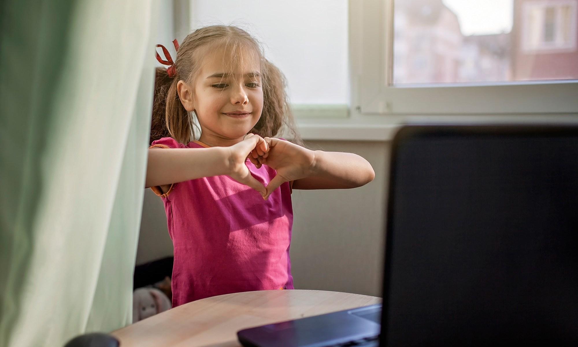 Child on virtual meeting