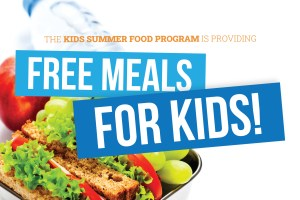 Free meals for kids - lunch box open with fresh fruit and sandwich
