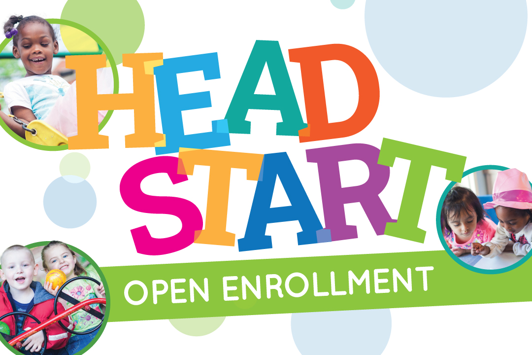 Colorful graphic with images of Head Start students