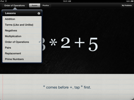 Algebra Touch Math Help iOS iPad iPhone App | Algebra Topics