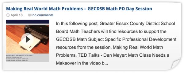 Making Real World Math Problems - Professional Development