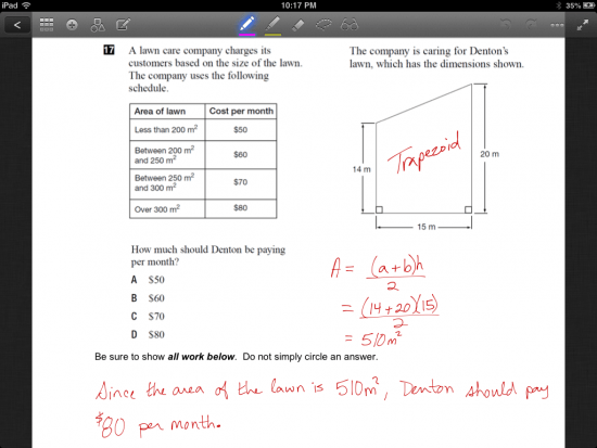 Completed Math Task on iPad GoodNotes Annotation App