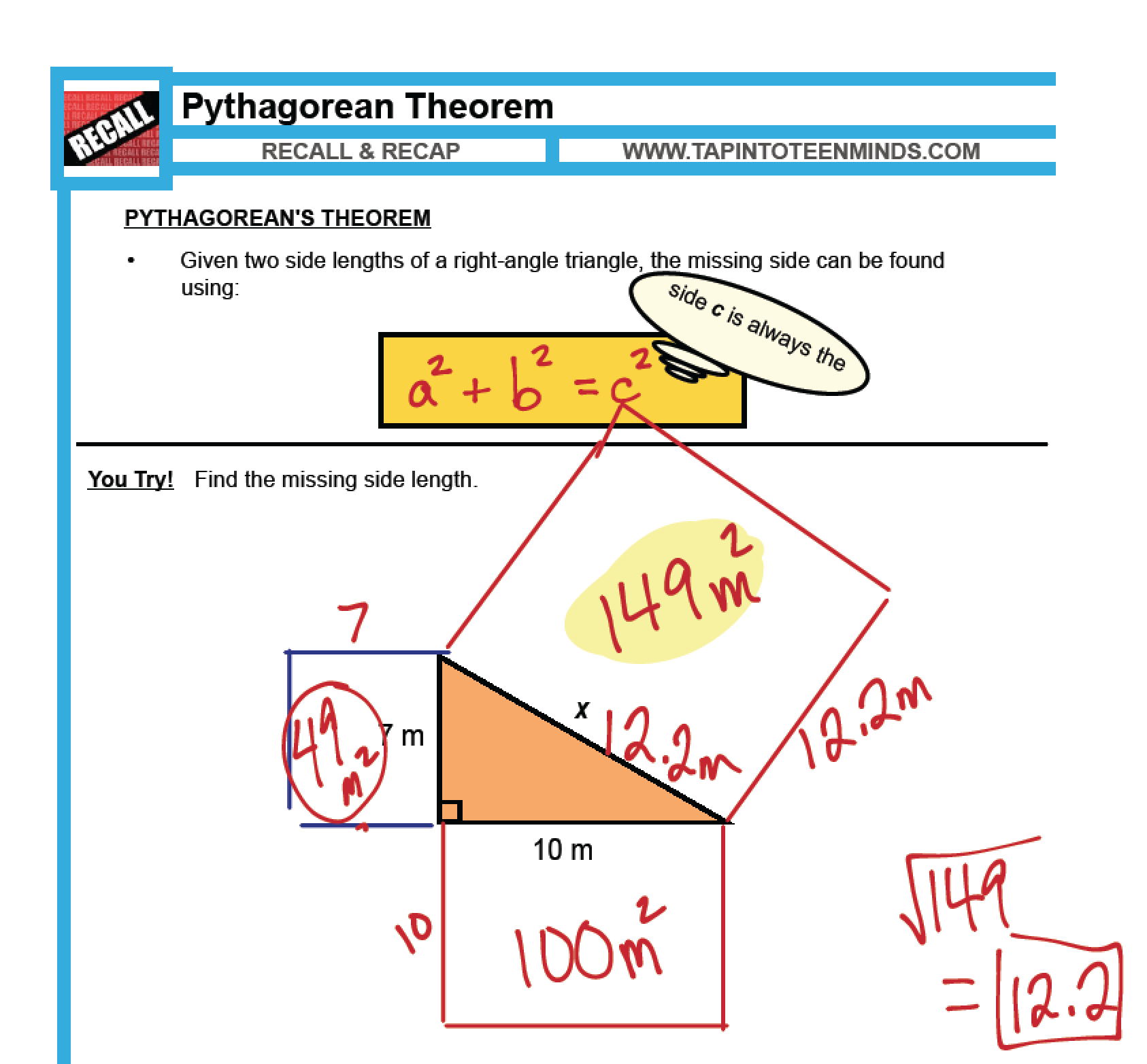 Pythagorean Theorem Worksheet 8th Grade Math