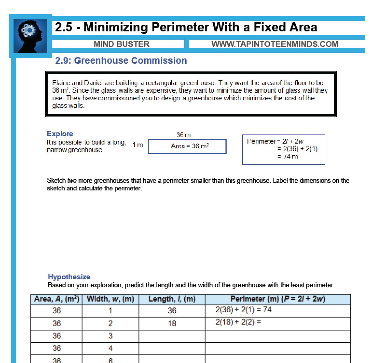 25 Minimizing Perimeter With A Fixed Area Mfm1p Grade 9 Applied Math Help