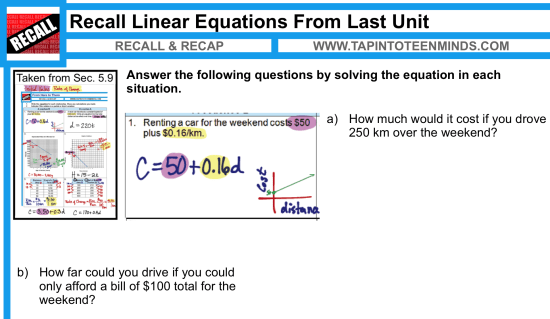 Recalling Linear Relationship From Last Unit