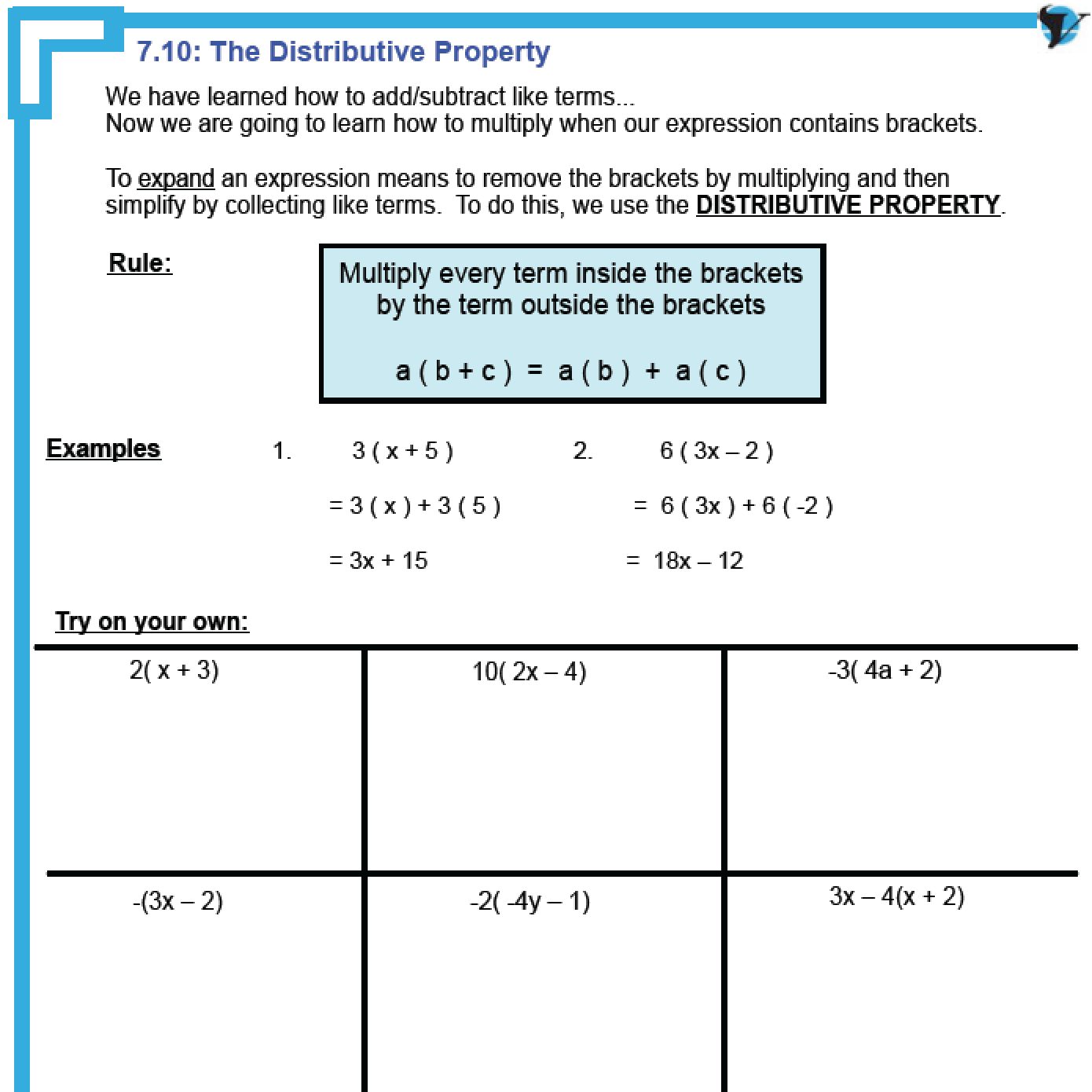 Printable Basic Distributive Property Worksheet