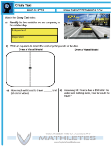Crazy Taxi 3 Act Math Task Resource Template