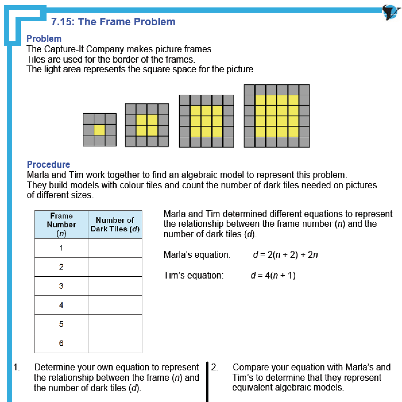 Patterns And Functions Worksheet