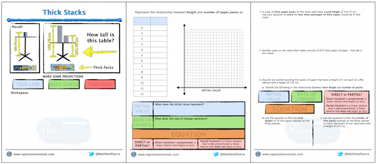 Thick Stacks 3 Act Math Template | Worksheet Handout
