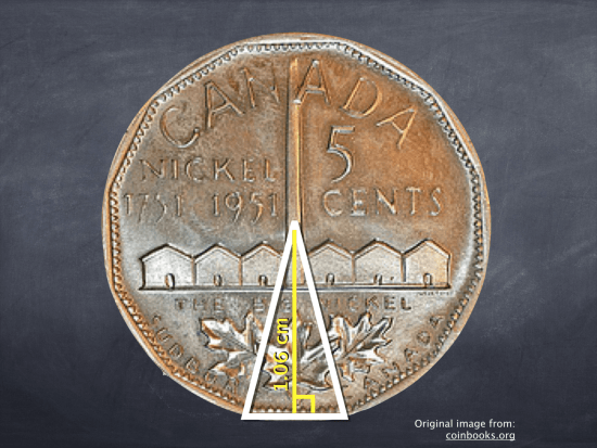 Big Nickel - Act 2 - Height of 1951 Canadian Nickel for Trigonometry