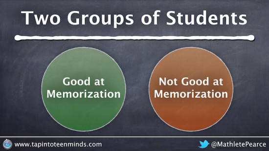 Two Groups of Math Students - Good at Math or Memorization